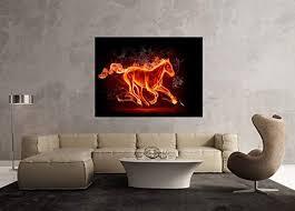 glasbild motiv pferd feuer wohnzimmer modern querformat