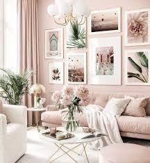 trendy bilderwand rosa wohnzimmer botanische poster