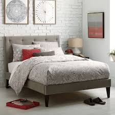 Narrow Leg Upholstered Bed Frame Dove Gray