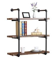 OK Furniture 3 Tier Industrial Vintage Pipe Bookshelf