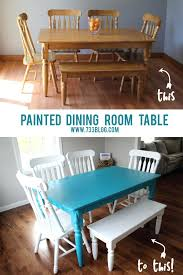 Teal Dining Room Table Decor Chalky Finish Painted Fabric Chairs