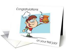 First Job Fast Food Burger Joint Teen Boy Congratulations Card
