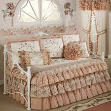 Excellent Decorative White Ruffle Bedding With Cozy Berber Carpet For Enchanting Bedroom Design