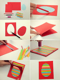 Easter Kids Crafts Diy Cards Egg Colourful Paper Stripes