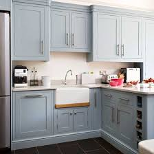 greyish blue kitchen cabinets with white walls kitchen