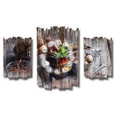 kreative feder wanduhr dreiteilige wanduhr holz wandbild wanddeko funkuhr quarzuhr leise kein ticken gewürze kochen küche dtwh011
