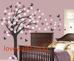 Wall Mural Decals Flowers by Large Roman Cherry Blossom Tree With Two Set Flower Butterfly Room