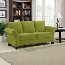 Attractive Room Decor Using Minimalist Green Sofa And Book Shelve