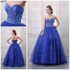princess royal blue sweetheart neck sequence beaded pleated bodice