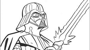 Darth Vader With His Sword Free Coloring Page O Kids Movies Star