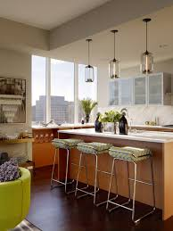 kitchen island vintage glass pendant lighting with glossy wooden