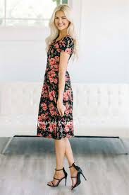 pink red black floral modest dress for church buy cute modest