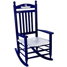 penn state nittany lions painted wood rocking chair in blue and