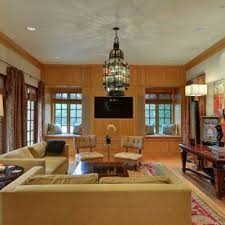 Inspiration For A Mediterranean Medium Tone Wood Floor And Brown Living Room Remodel In Dallas