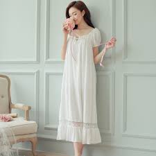 Night Dress Long White Nightgown Women Nightgowns Cotton Short Sleeve Sexy Nightwear Vestido Vintage Sleepwear Pijama