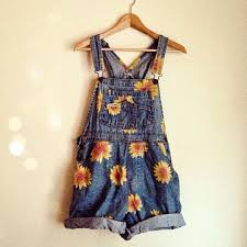 Dress Overalls Vintage Floral Dungarees Shorts Denim Overall Daisy
