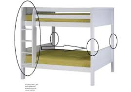 Extender kit with Attached Ladder for Low Bunk Bed White Finish