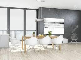 moderne grau und weiß esszimmer mit holzboden