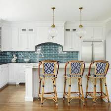 steel kitchen chairs white subway tile blue with white subway