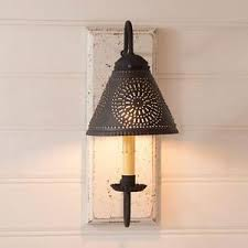 primitive new vintage white wall sconce light w punch tin shade