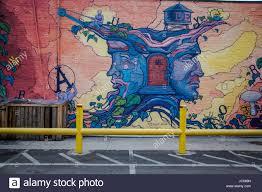 Deep Ellum Murals Address by Paintings On Wall Along A Sidewalk In Dallas Deep Ellum Stock