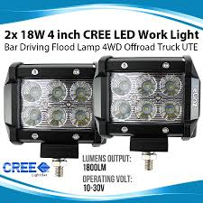 2x 18W 4 Inch CREE LED Work Light Bar Driving Flood Lamp 4WD ... 1pcs Ultra Bright Bar For Led Light Truck Work 20 Inch Dc12v 24v Led Truck Tail Light Bar Emergency Signal Work Yescomusa 24 120w 7d Led Spot Flood Combo Beam Ip68 100w Cree Lamp Trailer Off Road 4wd 27w 12v Fo End 11222018 252 Pm China Actortrucksuvuatv Offroad Yintatech 28 180w 2x Tractor Lights Worklight Lamp 4inch 18w 40w Nsl04b40w Trucklite 81335c 81 Series Pimeter Flush Mount 4x2 Trucklites Signalstat Line Now Offers White Auxiliary Lighting
