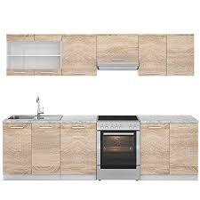 vicco küche raul küchenzeile küchenblock einbauküche 270 cm sonoma kombinierbare einheiten