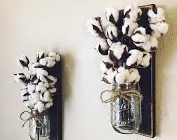Mason Jar Sconce With Cotton Stems Stem Decor Rustic Farmhouse Wall