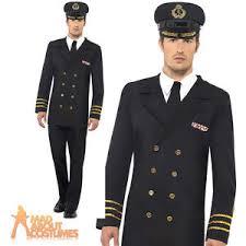 Mens WW2 Navy ficer Costume 1940s Naval Uniform Military Fancy