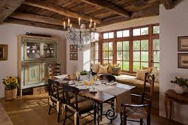 Fabulous Mediterranean Dining Room 2015 Surprising Casement With Large Windows Treatment