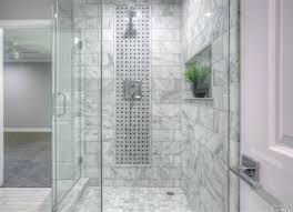contemporary bathroom with specialty tile floors frameless