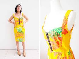 burda patterns sweetheart dress in yellow hawaiian print sew in love