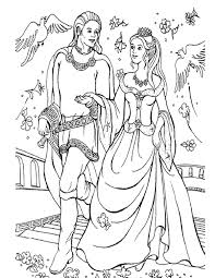 Barbie Princess With Prince Christmas Coloring Page Pages