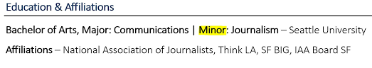 Listing Minor And Major On Resume Example