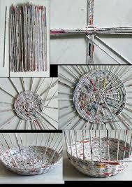 DIY Newspaper Basket Newpaper Crafts