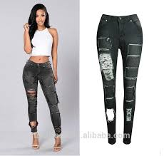 Ws0033 Wholesale Latest Jeans Tops Girls Ripped Rock For Ladies