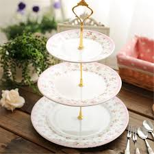2018 Wholesale High Quality 3 2 Tier Cake Plate Stand Handle