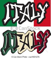 Italy Word Graffiti Different Style Vector