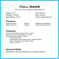 Resume Examples For Actors Acting Resume Examples Acting Resume