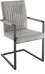 riess ambiente design freischwinger stuhl bristol grau mit armlehne esszimmerstuhl esszimmer stuhl