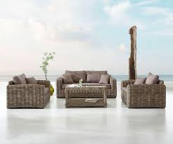delife gartensessel nizza rattan grau sitzgruppe mit braunen kissen lounge set kaufen otto