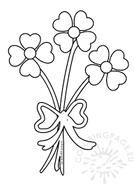 Valentines Day Coloring Page Hearts Flower Bouquet