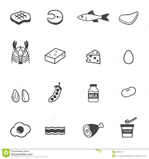 Protein food icons stock vector Illustration of group