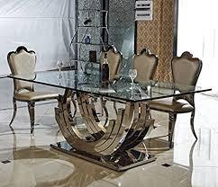 smaragd designer esstisch edelstahl esszimmer tisch glastisch glas hochglanz größe 220x110x75 cm