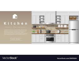 Interior Design Modern Kitchen Background 5 Stock Vektor Interior Design Modern Kitchen Background 2 Vector Image