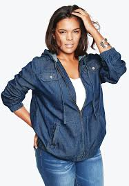 hooded denim jacket plus size jackets and blazers roamans