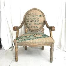 Printed Burlap Upholstery Fabric Coffee Sack French Style Rustic Dining Accent Chair Upholstered In Turquoise