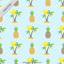 Island and pineapple pattern Vector