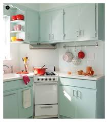 Wonderful Soft Blue Polished Small Kitchen Cabinet Sets And White Porcelain Countertops As Well Simple Vintage Decorating Ideas