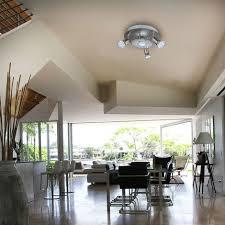 led decken leuchte rund metall glas le wohnzimmer strahler 3 flammig gu10